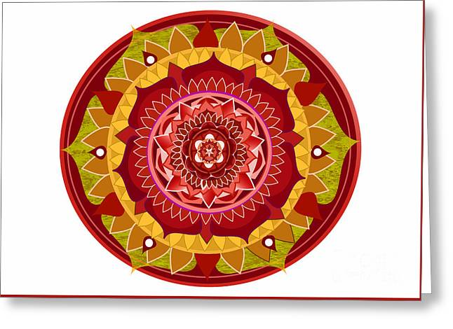 Patterned Greeting Cards - Mandala red rose Greeting Card by Hanna Jungeby