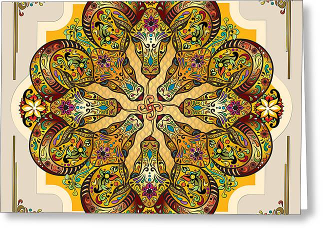Greek Sculpture Mixed Media Greeting Cards - Mandala Sacred Rams - Bright Version Greeting Card by Bedros Awak
