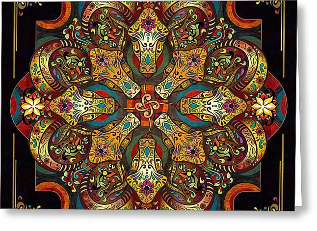 Civilization Greeting Cards - Mandala Sacred Rams - Dark Version Greeting Card by Bedros Awak