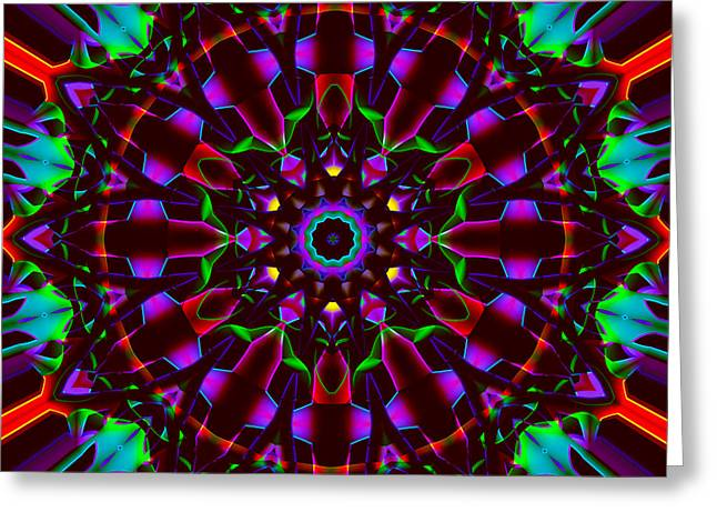 Religious Tapestries - Textiles Greeting Cards - Mandala - Stained Glass 1 Greeting Card by Marcus Mattern