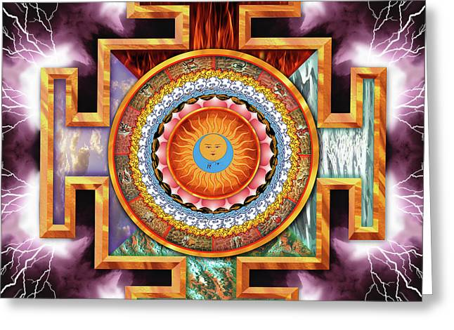 Tantra Greeting Cards - Mandala Tantra Greeting Card by Mark Myers
