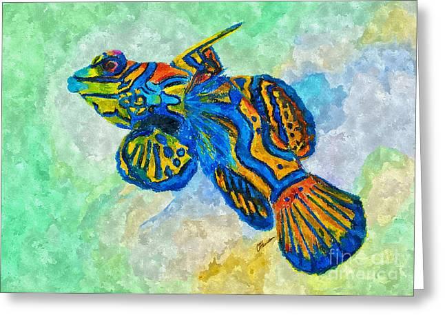 Sea Life Pastels Greeting Cards - Mandarin Dragonet Greeting Card by Olga Hamilton