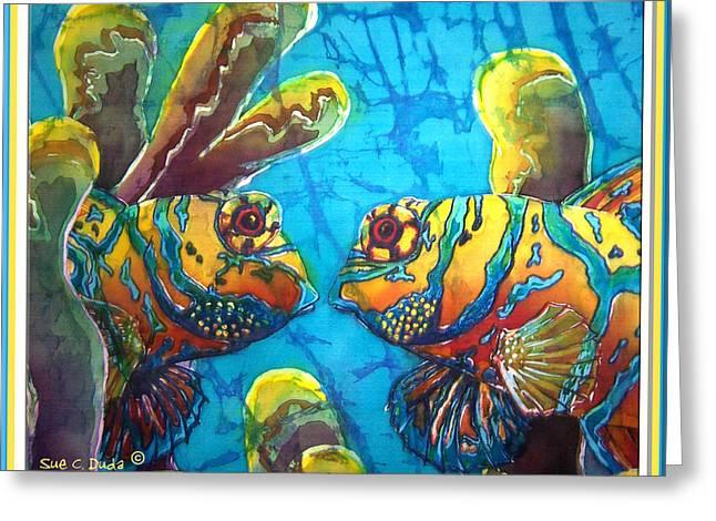 Snorkel Greeting Cards - Mandarinfish- Bordered Greeting Card by Sue Duda
