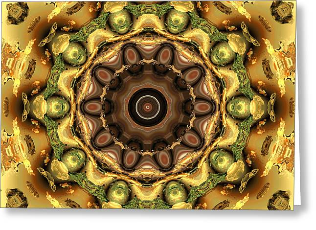 Algorithmic Greeting Cards - Mandella in green and brown Greeting Card by Claude McCoy