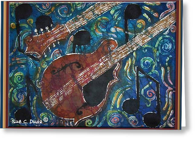 Bluegrass Tapestries - Textiles Greeting Cards - Mandolin - Bordered Greeting Card by Sue Duda