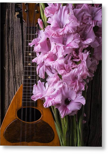 Mandolin And Glads Greeting Card by Garry Gay