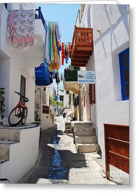 Mandraki Greeting Cards - Mandraki town on Nisyros Greeting Card by David Fowler