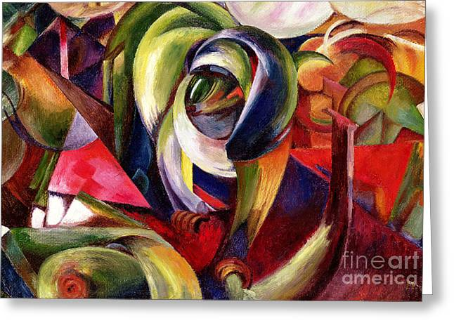Machine Paintings Greeting Cards - Mandrill Greeting Card by Franz Marc