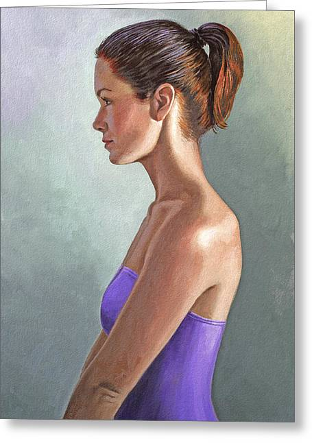 Brunette Greeting Cards - Mandy-Profile Greeting Card by Paul Krapf