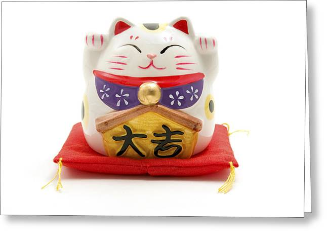 Ceramic Greeting Cards - Maneki Neko Greeting Card by Fabrizio Troiani