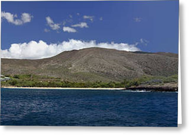 Dave Greeting Cards - Manele Bay Panorama Greeting Card by Dave Fleetham - Printscapes