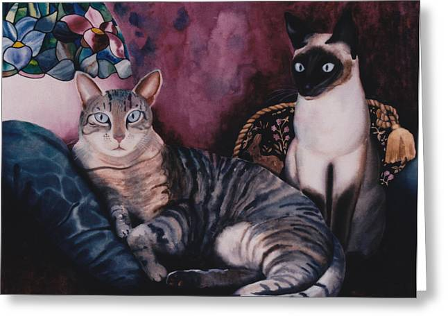 Siamese Cat Print Greeting Cards - Manets Olympia Cats Greeting Card by Eve Riser Roberts