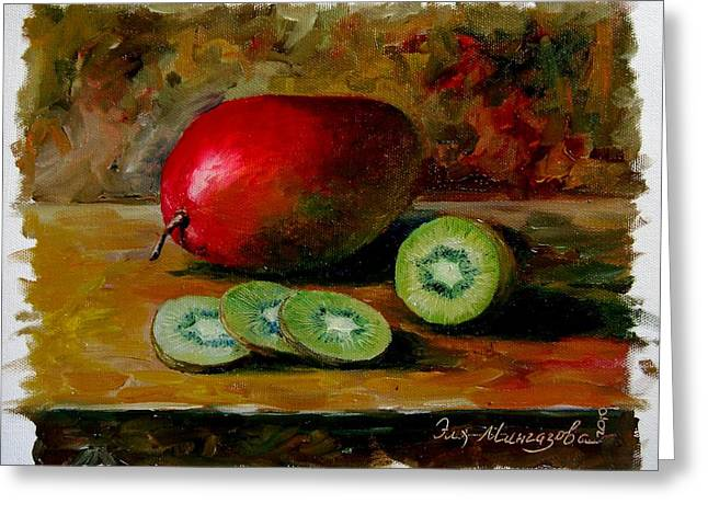 Mango Paintings Greeting Cards - Mango and Kiwi Greeting Card by Eleonora Mingazova