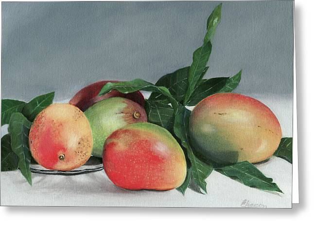 Mango Paintings Greeting Cards - Mango Tango Greeting Card by Elizabet Chacon