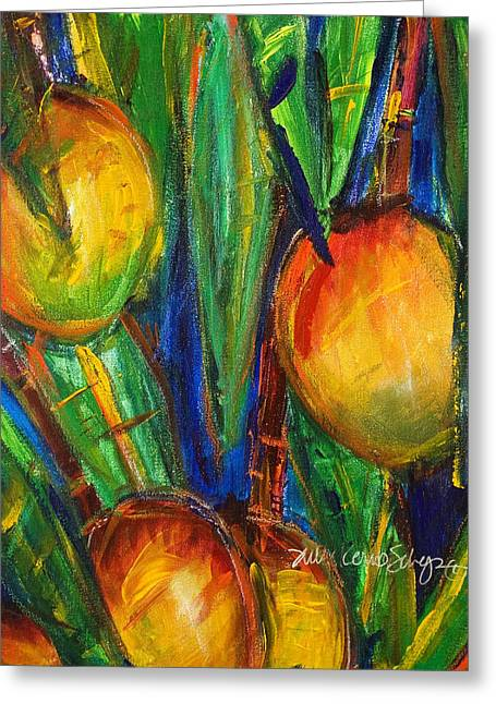 Fresh Green Paintings Greeting Cards - Mango Tree Greeting Card by Julie Kerns Schaper - Printscapes