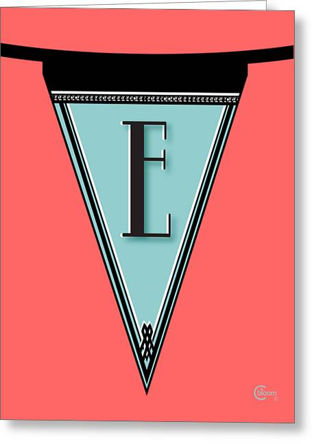 Party Invite Greeting Cards - Manhattan 1920s Deco Blues Banner Monogram letter initial E Greeting Card by Cecely Bloom