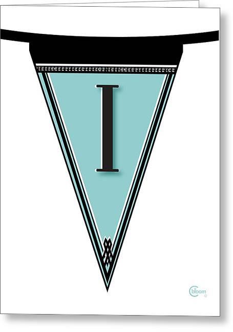 Just Married Greeting Cards - Manhattan 1920s Deco Blues Banner  Monogram letter initial i Greeting Card by Cecely Bloom