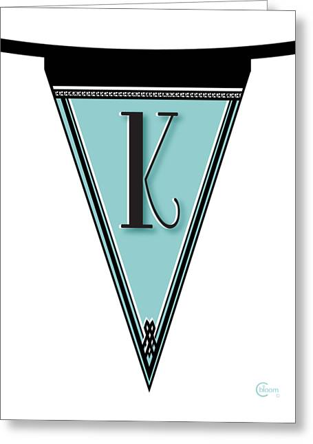 Pennant Deco Blues Banner Initial Letter K Greeting Card by Cecely Bloom