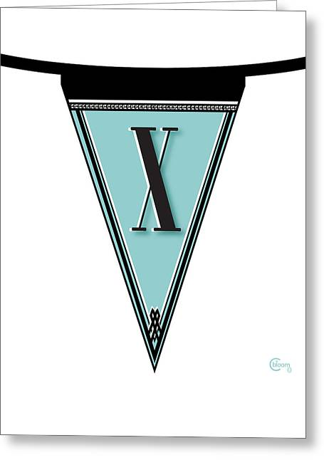 Party Invite Greeting Cards - Manhattan 1920s Deco Blues Banner Monogram letter initial X Greeting Card by Cecely Bloom