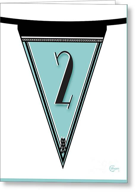 Party Invite Greeting Cards - Manhattan 1920s Deco Blues Banner Pennant number 2  Greeting Card by Cecely Bloom
