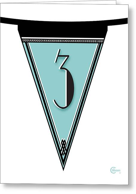 Basketballs Greeting Cards - Manhattan 1920s Deco Blues Banner Pennant numeral  3 Greeting Card by Cecely Bloom