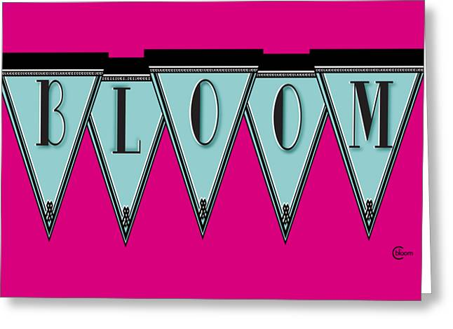 Turn Of The Century Mixed Media Greeting Cards - Manhattan 1920s Deco Blues BLOOM Banner Greeting Card by Cecely Bloom