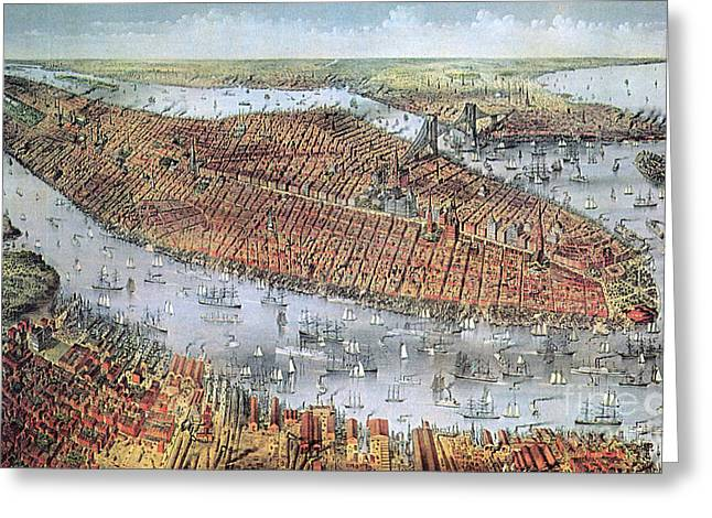 New Jersey History Greeting Cards - Manhattan And Brooklyn, 19th Century Greeting Card by Photo Researchers