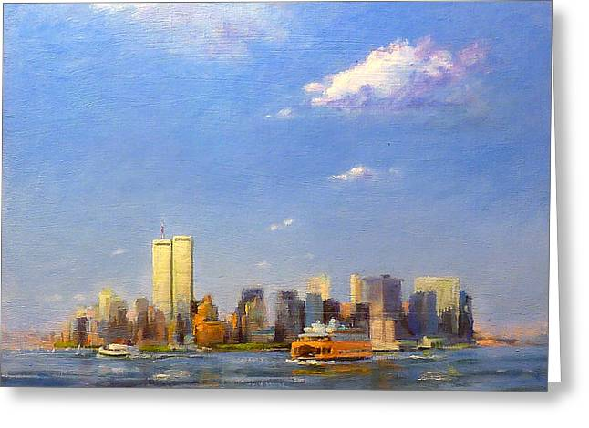 Manhattan And Twin Towers From New York Harbor Greeting Card by Peter Salwen