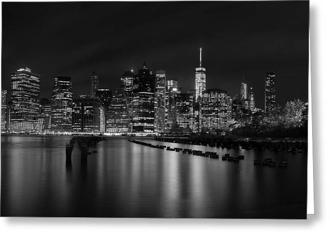 New York Night Greeting Cards - Manhattan at night in Black and White Greeting Card by Andres Leon
