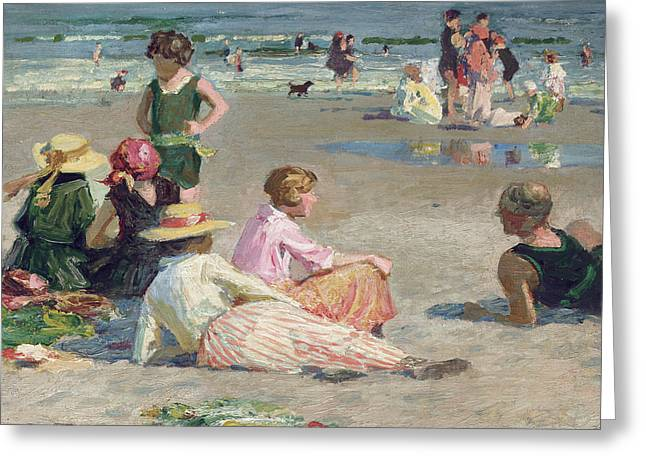 Talking Dog Greeting Cards - Manhattan Beach  Greeting Card by Edward Henry Potthast
