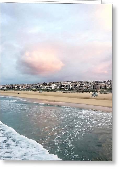 Manhattan Beach Shoreline Greeting Card by Art Block Collections