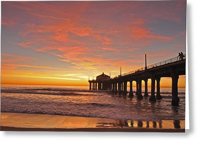 Ocean. Reflection Greeting Cards - Manhattan Beach Sunset Greeting Card by Matt MacMillan