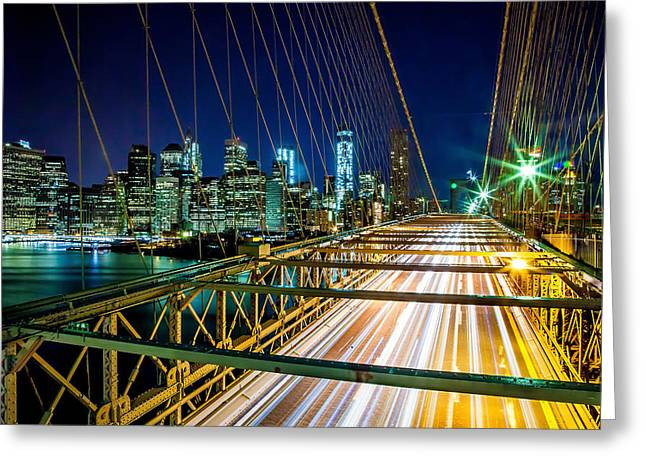 Famous Bridge Greeting Cards - Manhattan Bound Greeting Card by Az Jackson