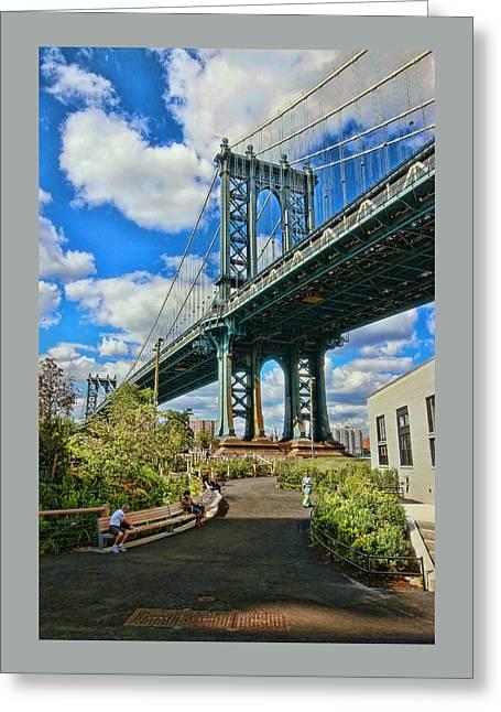 Famous Bridge Greeting Cards - Manhattan Bridge Greeting Card by Allen Beatty