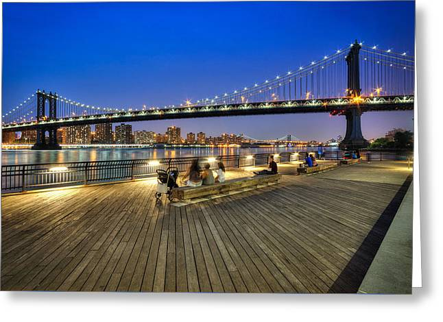 Exposure Greeting Cards - Manhattan Bridge Boardwalk View Greeting Card by Daniel Portalatin
