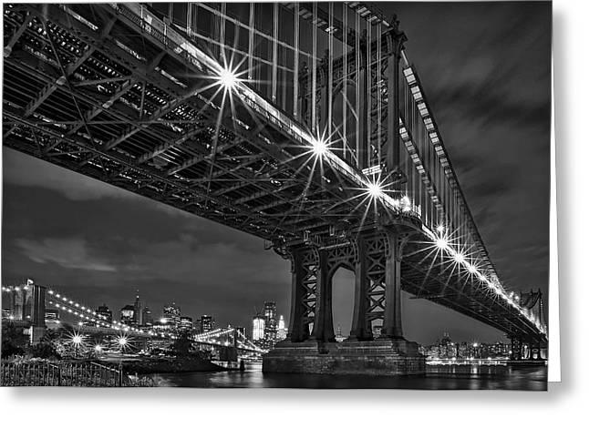 Manhattan Bridge Frames The Brooklyn Bridge Greeting Card by Susan Candelario