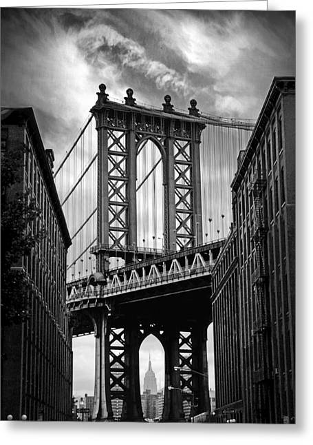 Manhattan Bridge Greeting Card by Jessica Jenney