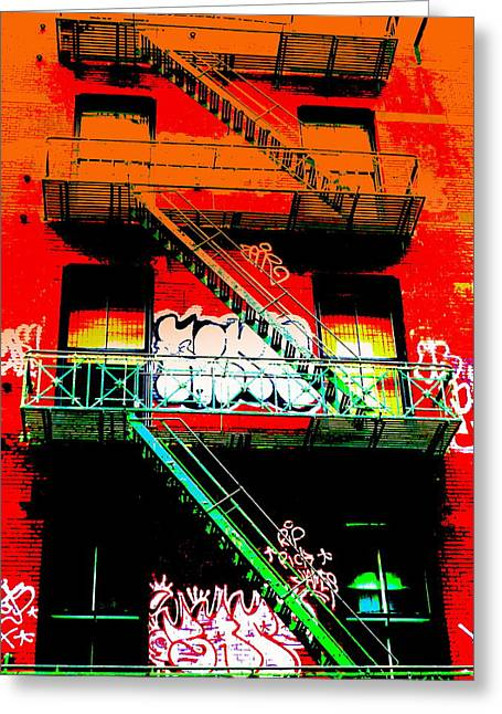 New York City Fire Escapes Greeting Cards - Manhattan Fire Escape Greeting Card by Funkpix Photo Hunter