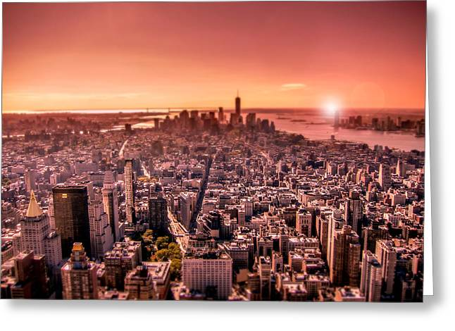 Manhattan In Red Greeting Card by Nicklas Gustafsson