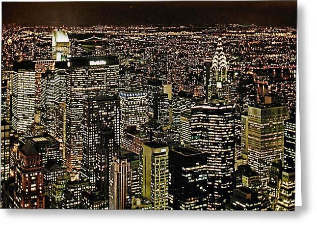 Manhattan Lights Greeting Card by Joachim G Pinkawa