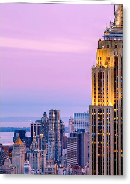 Lines Greeting Cards - Manhattan Magic Greeting Card by Az Jackson