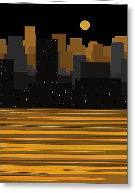 Moonshine Digital Greeting Cards - Manhattan Moonlight Greeting Card by Val Arie