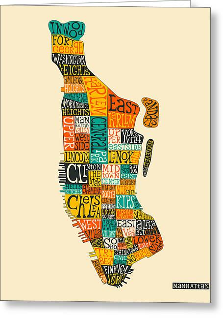 Manhattan Greeting Cards - Manhattan Neighborhood Map Typography Greeting Card by Jazzberry Blue