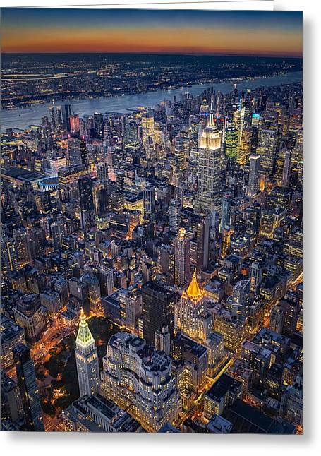 Manhattan New York City From Above Greeting Card by Susan Candelario