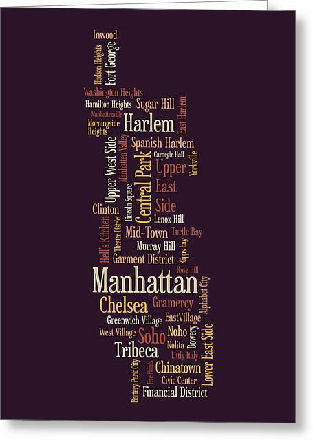 Typographic Greeting Cards - Manhattan New York Typographic Map Greeting Card by Michael Tompsett