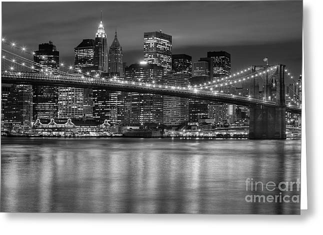 Manhattan Night Skyline Iv Greeting Card by Clarence Holmes