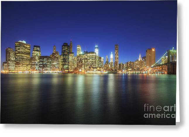 Night Shots Greeting Cards - Manhattan Nite Lites NYC Greeting Card by Yhun Suarez