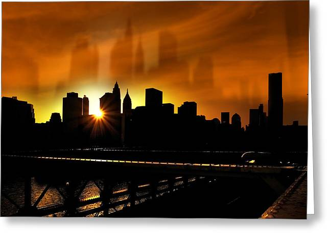 Brick Buildings Mixed Media Greeting Cards - Manhattan Silhouette Greeting Card by Svetlana Sewell