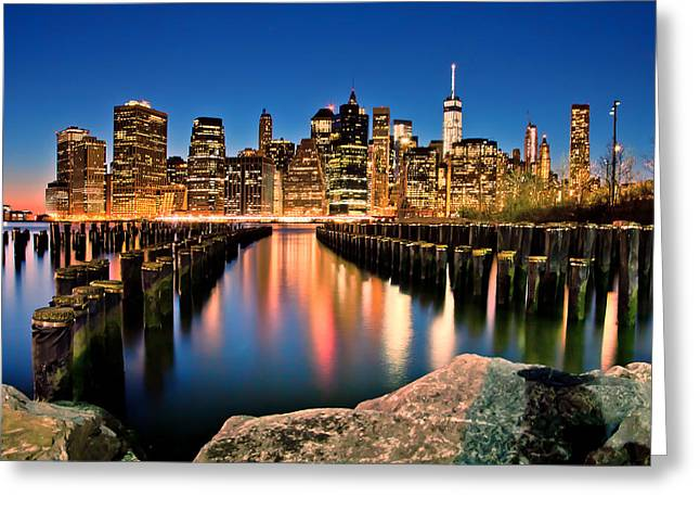 Famous Photographers Greeting Cards - Manhattan Skyline At Dusk Greeting Card by Az Jackson