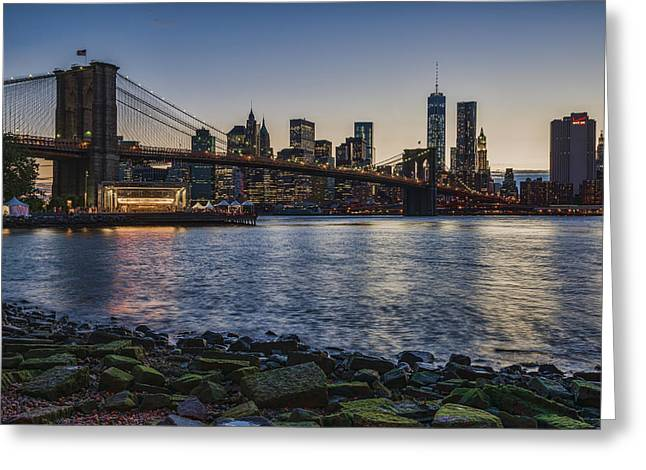 World Trade Centre Greeting Cards - Manhattan Skyline At Twilight Greeting Card by F. M. Kearney